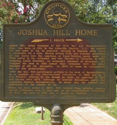 Joshua Hill Home Marker image. Click for full size.