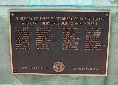 "Montgomery County's Tribute to her Heroic Dead - ""World War I"" image. Click for full size."