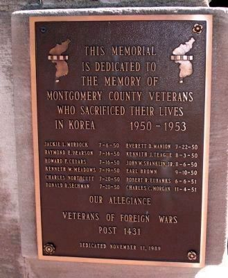 "Montgomery County's Tribute to Her Heroic Dead Marker - ""Korea 1950 - 1953"" image. Click for full size."