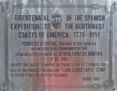 Bicentennial of the Spanish Expeditions to the Northwest Coasts of America, 1771-1991 Marker image. Click for full size.