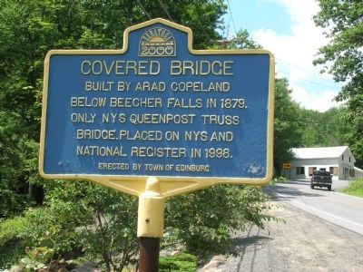 Covered Bridge Marker - Edinburg, NY image. Click for full size.