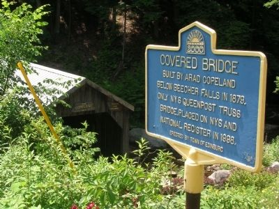 Copeland Covered Bridge Marker & Bridge image. Click for full size.