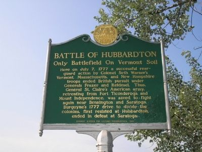 Battle of Hubbardton Marker image. Click for full size.