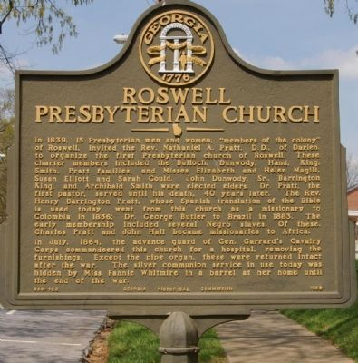Roswell Presbyterian Church Marker image. Click for full size.
