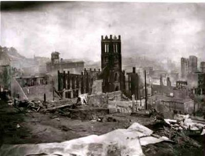 Old Saint Mary's after the Great Earthquake and Fire of April, 1906 image. Click for full size.