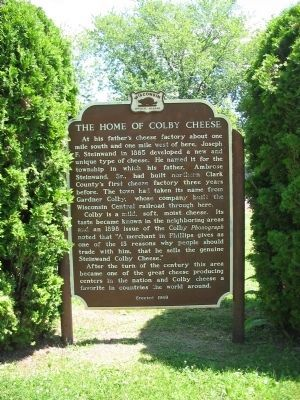 The Home of Colby Cheese Marker image. Click for full size.