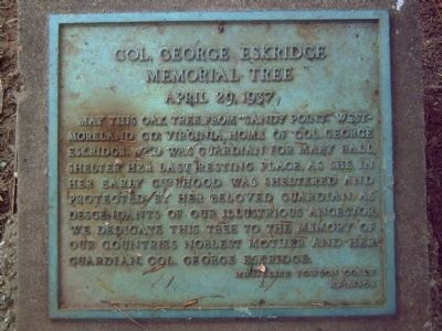 Col. George Eskridge Memorial Tree Marker image. Click for full size.