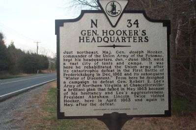 Gen. Hooker's Headquarters Marker image. Click for full size.