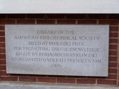 Library of the American Philosophical Society Marker image. Click for full size.