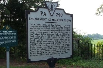Engagement at Malvern Cliffs Marker image. Click for full size.