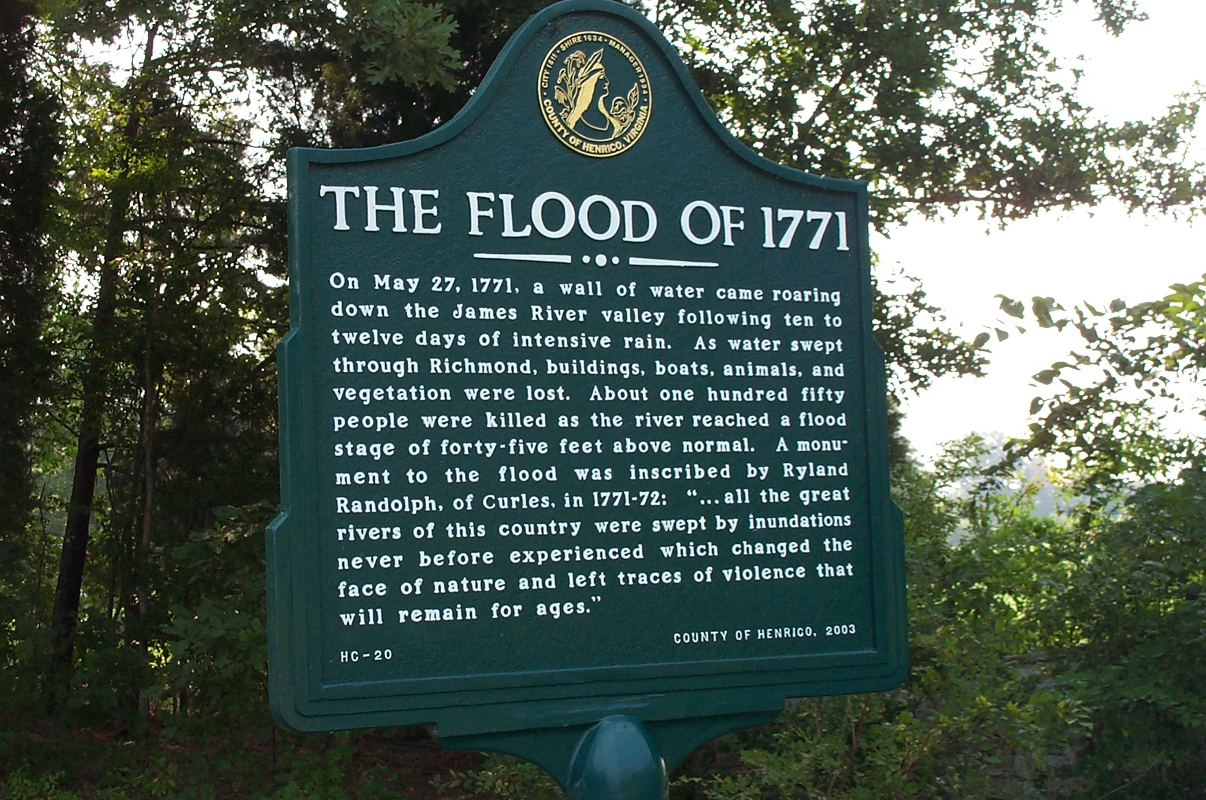 The Flood of 1771 Marker