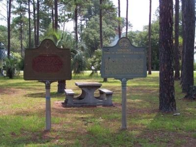 Saint John's Lodge Number Six Marker ( L.) shares a small park with Sunbury Marker image. Click for full size.