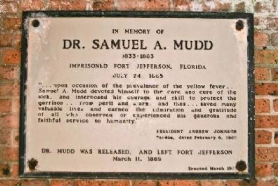 Dr. Samuel A. Mudd Marker image. Click for full size.
