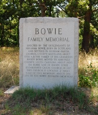 Bowie Family Memorial Marker image. Click for full size.