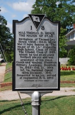 Maj. Thomas D. Howie, the Major of St. Lo Marker - Front image. Click for full size.