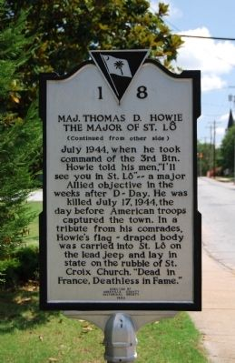 Maj. Thomas D. Howie, the Major of St. Lo Marker - Reverse image. Click for full size.