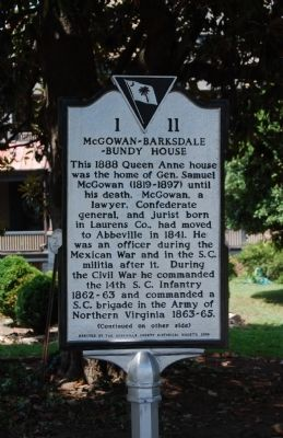 McGowan-Barksdale-Bundy House Marker - Front image. Click for full size.