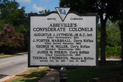 Abbeville's Confederate Colonels Marker image. Click for full size.