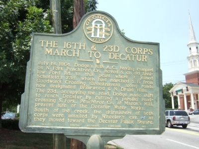 The 16th & 23d Corps March to Decatur Marker image. Click for full size.