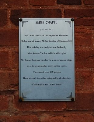 McBee Chapel Marker image. Click for full size.