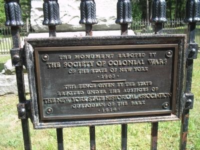 Battle of Lake George Fence Plaque image. Click for full size.