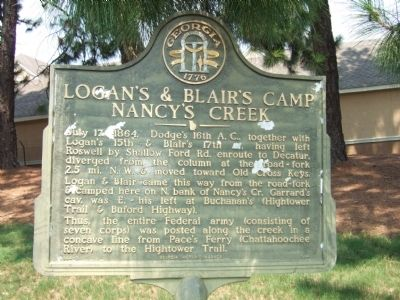Logan's & Blair's Camp Nancy's Creek Marker image. Click for full size.