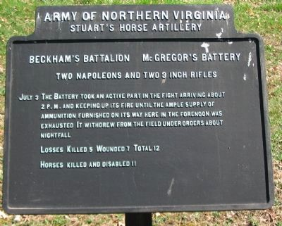 Beckham's Battalion McGregor's Battery Tablet image. Click for full size.