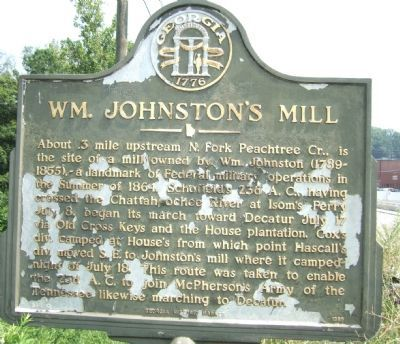 Wm. Johnston's Mill Marker image. Click for full size.