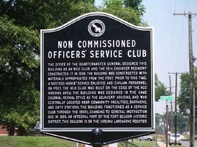 Non Commissioned Officers' Service Club Marker image. Click for full size.
