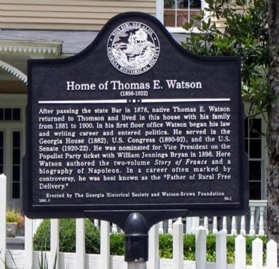Home of Thomas E. Watson Marker image. Click for full size.