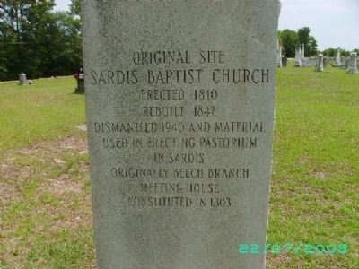 Original Site Sardis Baptist Church Marker image. Click for full size.