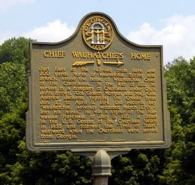 Chief Wauhatchie's Home Marker image. Click for full size.