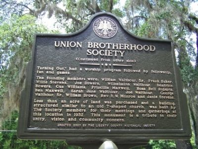 Union Brotherhood Society Marker ( Rear Text ) image. Click for full size.