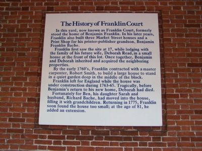 The History of Franklin Court Marker image. Click for full size.