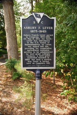Asbury F. Lever (1875-1940) Marker image. Click for full size.