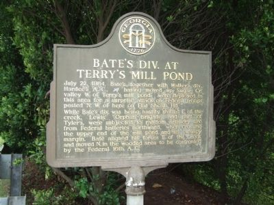 Bate's Div. at Terry's Mill Pond Marker image. Click for full size.