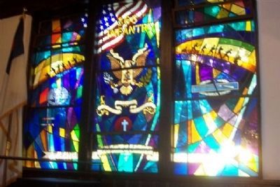 Rankin Chapel: 366th Infantry (WWII) Memorial Window image. Click for full size.