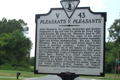Pleasants V. Pleasants Marker image. Click for full size.