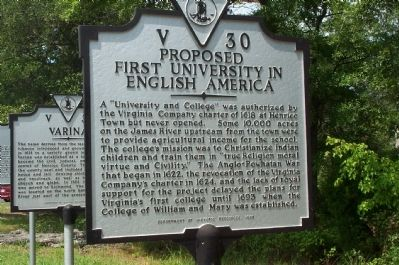 Proposed First University in English America Marker image. Click for full size.