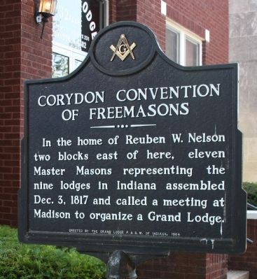 Corydon Convention Of Freemasons Marker image. Click for full size.
