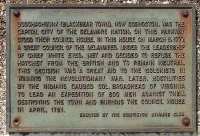 Delaware Nation Council House Marker image. Click for full size.