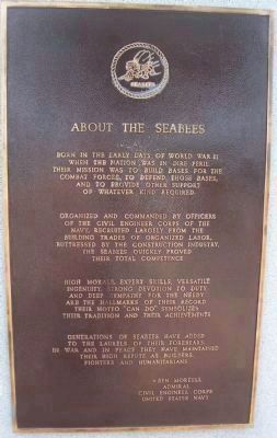 "Admiral Ben Moreell Marker </b>(First Panel: ""About the Seabees"") image. Click for full size."