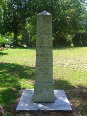 Wright Brothers&#39; Memorial Marker </b>(front) image. Click for full size.