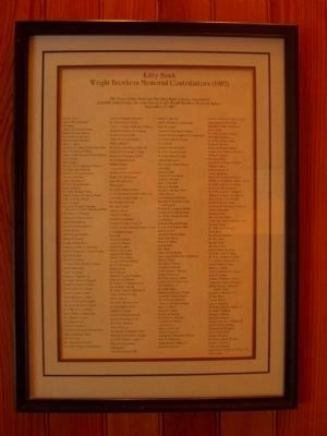 List of contributors for the 1987 replacement Wright Brothers' Memorial Marker image. Click for full size.