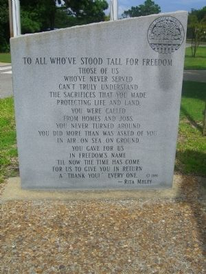 Dare County&#39;s Tribute to Veterans Marker </b>(Left Panel) image. Click for full size.