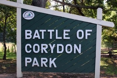 """Battle of Corydon Park"" - - sign image. Click for full size."