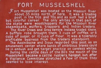 Fort Musselshell Marker image. Click for full size.