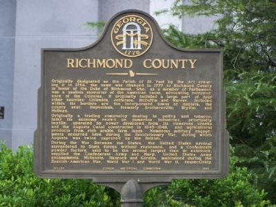 Richmond County Marker close-up image. Click for full size.