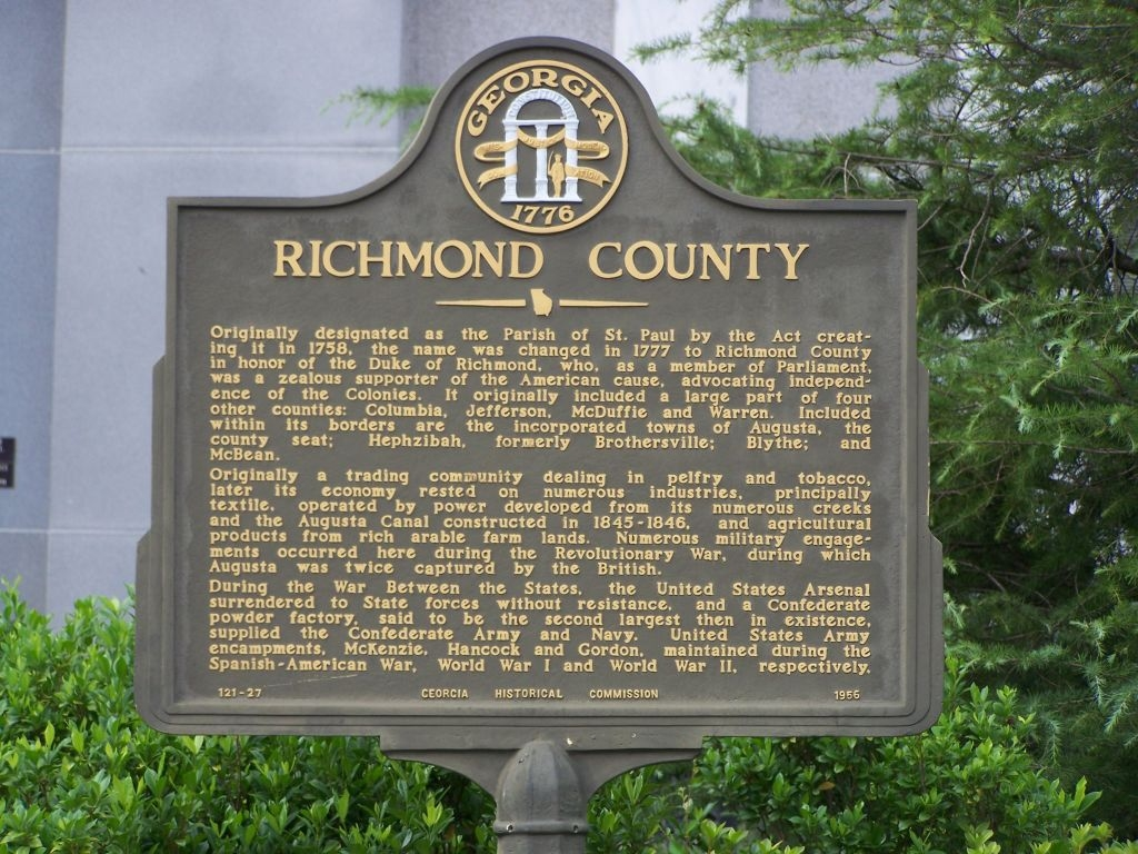 Richmond County Marker close-up