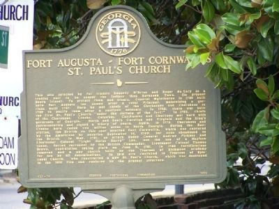 Fort Augusta ~ Fort Cornwallis / St. Paul's Episcopal Church Marker image. Click for full size.
